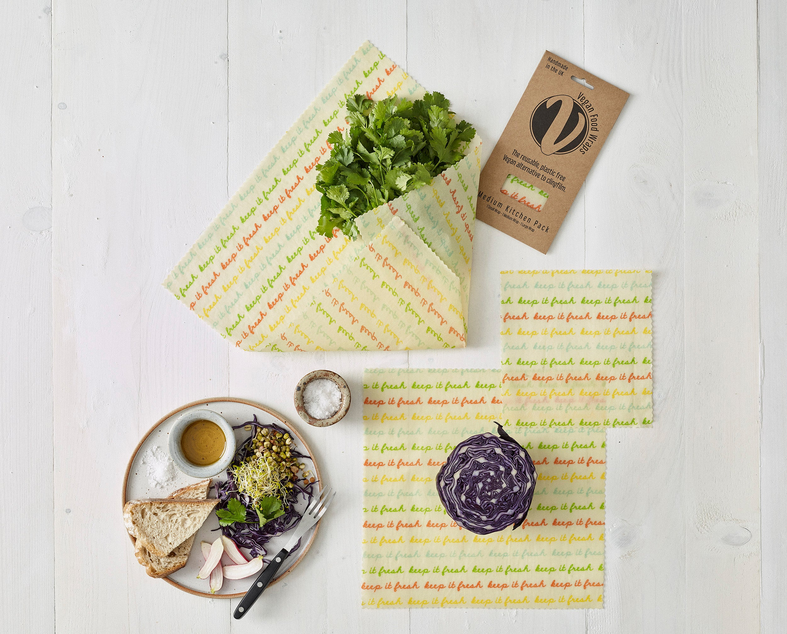 'Medium Kitchen Pack' Vegan Wax Wraps - The Weekly Shop | Plastic Free Online Shop