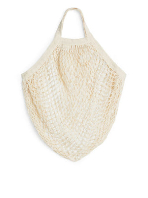 Short Handle Organic Cotton String Bag - Natural - The Weekly Shop | Plastic Free Online Shop
