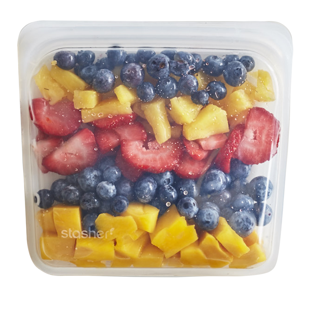 Stasher silicone sandwich bag with fruit inside