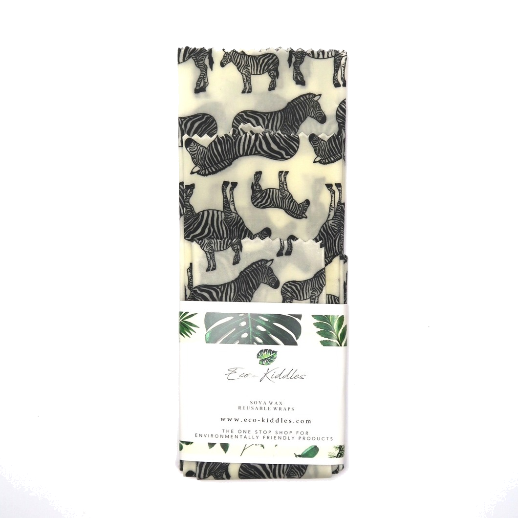 3-Piece Vegan Wax Wraps - Zebra - The Weekly Shop | Plastic Free Online Shop