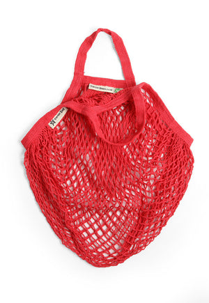 Short Handle Organic Cotton String Bag - Red - The Weekly Shop | Plastic Free Online Shop