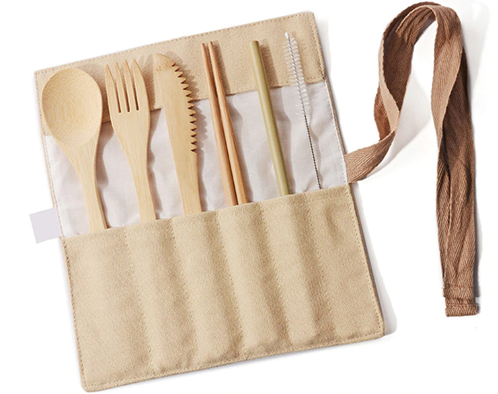 Tan Wooden Cutlery Set w/ Ribbon - The Weekly Shop | Plastic Free Online Shop