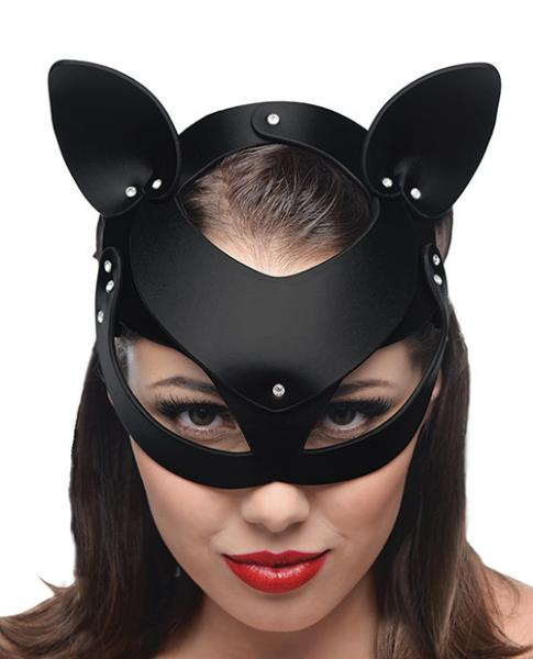 Bad Kitten Leather Cat Mask Black O/S
