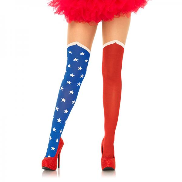 Hero Opaque Tights With Sheer Thigh O/S Blue, Red