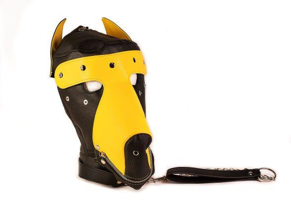 Basic Puppy Play Kit 2 Tone Black Yellow Mask, Tail, Mitts, Carry Pack