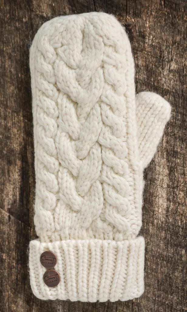 CherryT Co. Classic Cable Knit Mittens in Vintage Créme – CherryT ...