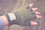 Ladies Hudson Wool Fingerless Gloves in Olive