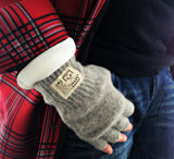 Gentlemen's Hudson Wool Fingerless Gloves in Soft Grey