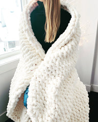 White Chunky Knit Blanket Merino Wool Blanket Chunky Thick Yarn Blanket Beautiful gift