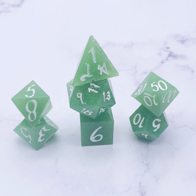 Green Sharp Polyhedral Dice Set Stargazer Goods