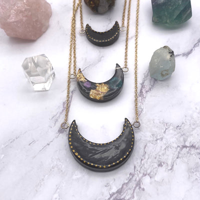 Black Multi Layered Moon necklace Stargazer Goods