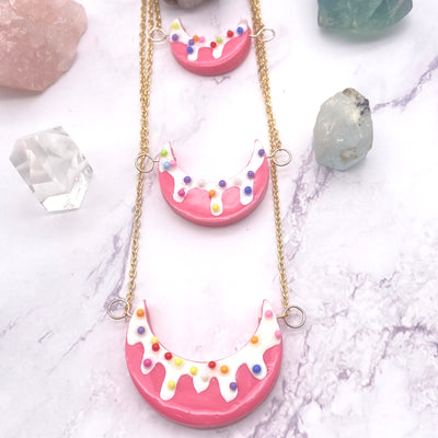 Pink Three layer Circus Cookie Moon Necklace Stargazer Goods
