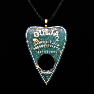 Teal Gold Holographic Ouija Planchette Necklace | Stargazer Goods