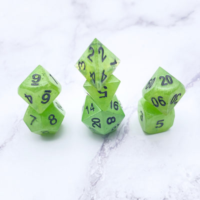 Bright Green polyhedral DND Dice Set Stargazer Goods