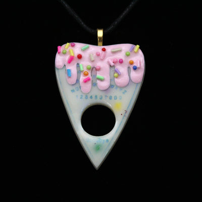 Pink and White Strawberry Vanilla Cake Ouija Planchette Necklace | Stargazer Goods