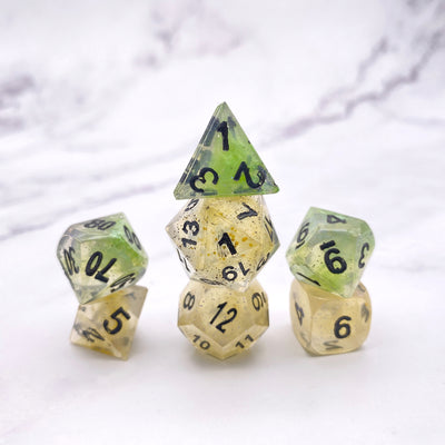 Iridescent Green and Yellow polyhedral DND Dice Set Stargazer Goods