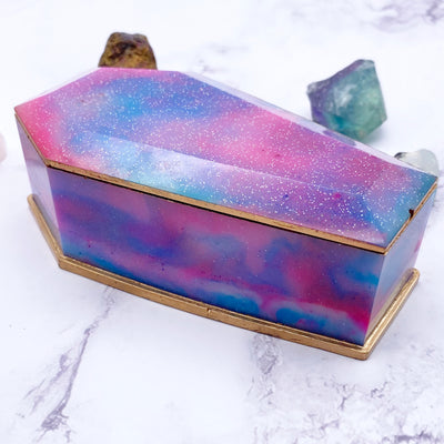 Blue Pink Purple Pastel Galaxy Coffin Trinket Box Stargazer Goods