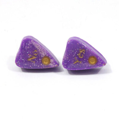 Purple Ouija Planchette Stud Earrings with holographic glitter and gold detail - Stargazer Goods