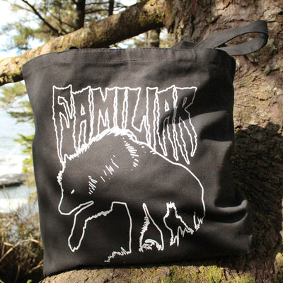Black Wolf Familiar hand screen printed cotton canvas tote Stargazer Goods