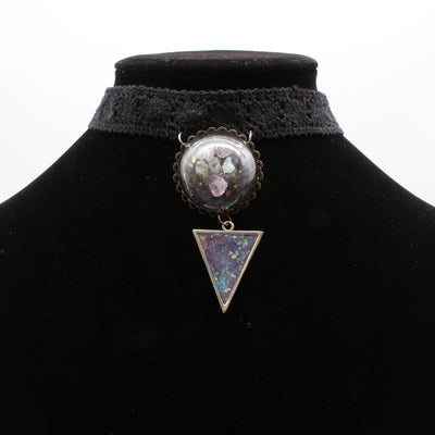 Rainbow Dyed Quarts Crystal Dome Black Lace Choker Necklace With Faux Opal triangle pendant | Stargazer Goods
