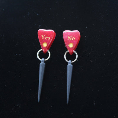 Spiked Blood Red Ouija Planchette Stud Earrings | Stargazer Goods