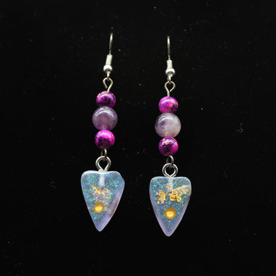 Lilac Iridescent Shimmer Ouija Planchette Wire hook Earrings | Stargazer Goods