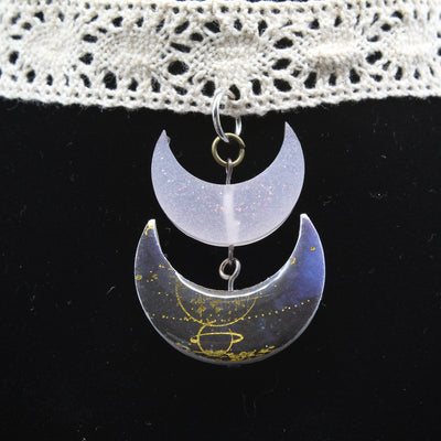 Blue Double Moon Celestial Lace Choker Necklace | Stargazer Goods