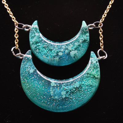 Green Ink Drop Double Moon Necklace | Stargazer Goods