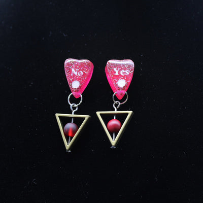 Red Holographic Triangle Ouija Planchette Stud Earrings | Stargazer Goods