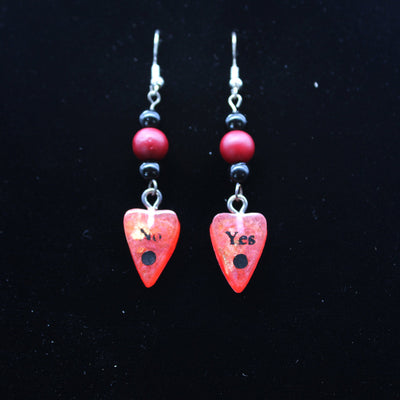 Red Gold Leaf Beaded Ouija Planchette Wire hook Earrings | Stargazer Goods