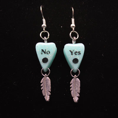 Holographic Teal Feather Charm Ouija Planchette Wire hook Earrings | Stargazer Goods