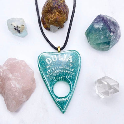 Aquamarine Ouija Planchette Necklace Stargazer Goods