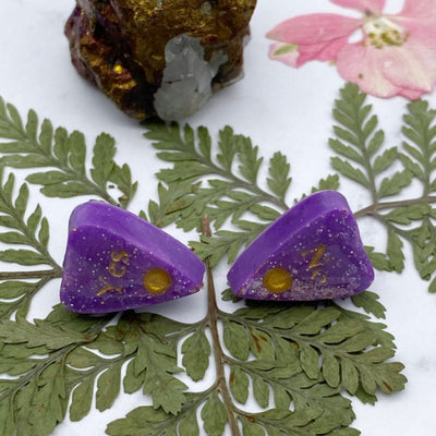 Purple Ouija Planchette Stud Earrings with holographic glitter and gold detail Stargazer Goods