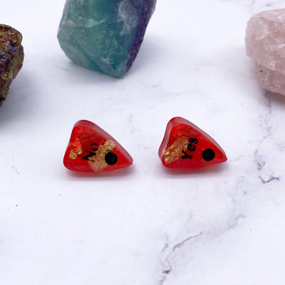 Red Gold Flake Ouija Planchette Stud Earrings | Stargazer Goods