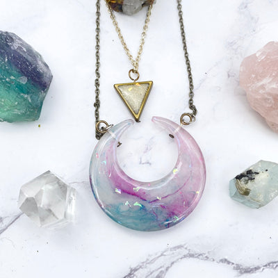 Purple Moon and Triangle layered Necklace Stargazer Goods