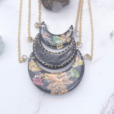 Three layer Black Botanical Moon Necklace | Stargazer Goods