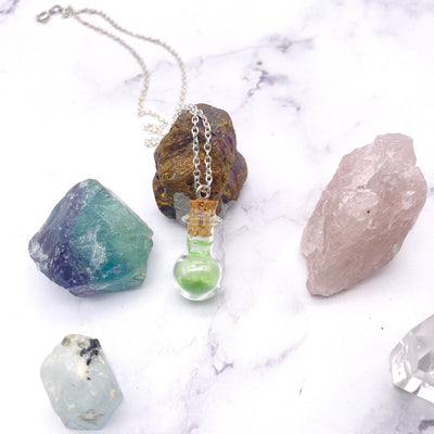 Green Small Flask Glass Bottle Necklace | Stargazer Goods