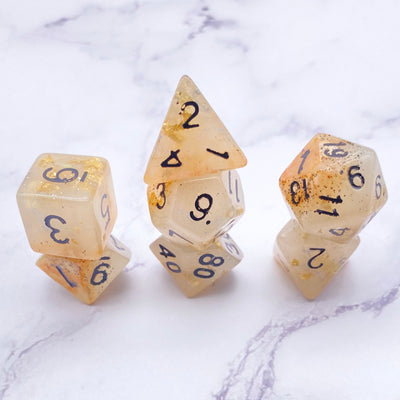 White Faux moonstone DND Dice Stargazer Goods