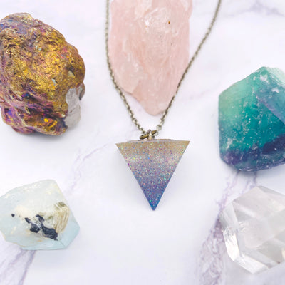 Purple Holographic Glitter Triangle Pendulum Stargazer Goods