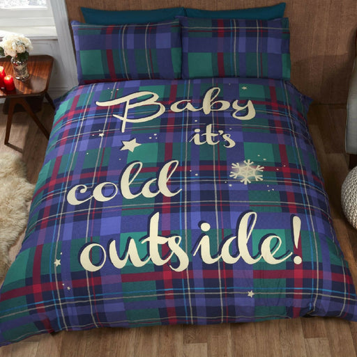 Baby It's Cold Outside Blue Christmas Duvet Set