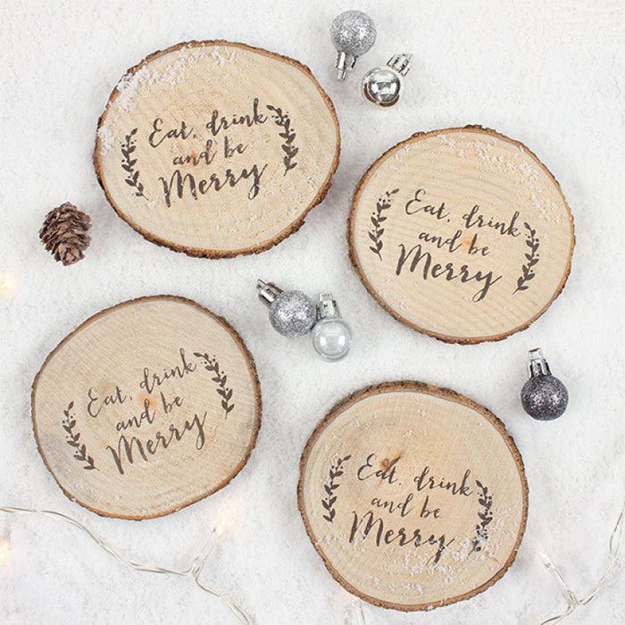 Set of 4 Christmas Wooden Log Coasters