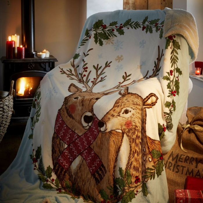 Mr And Mrs Stag Christmas Throw