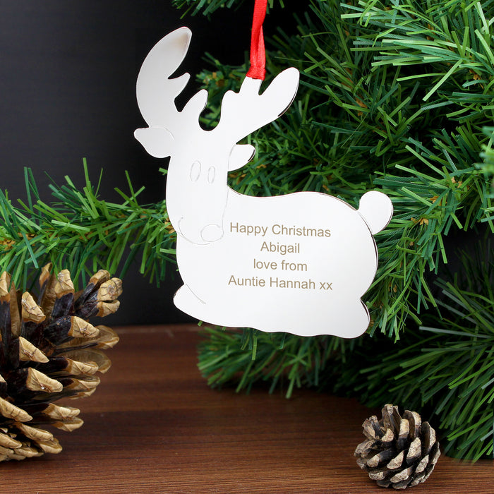 Personalised Reindeer Tree Decoration
