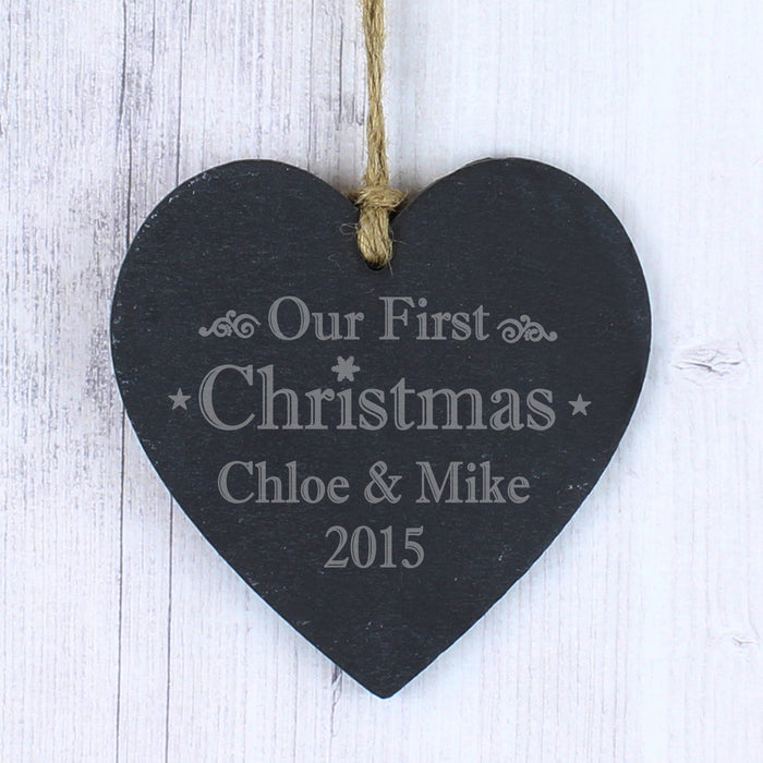 Personalised Our First Christmas Small Slate Heart
