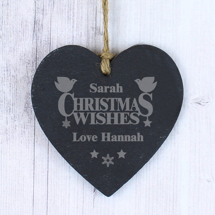 Personalised Christmas Wishes Small Slate Heart