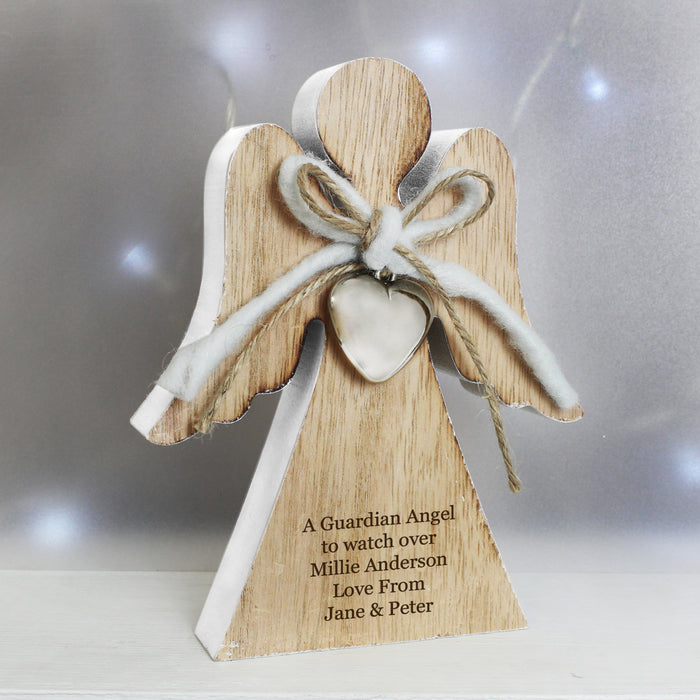 Personalised Rustic Wooden Angel Decoration