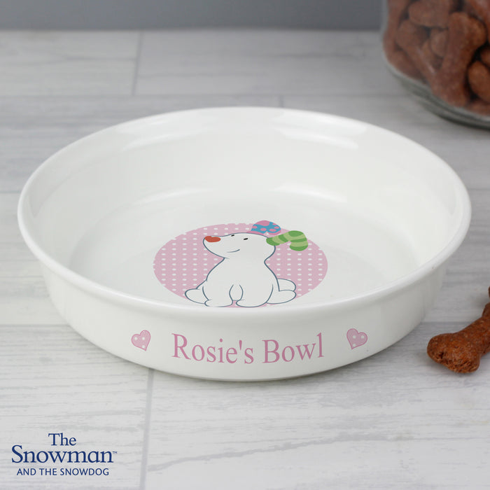 Personalised The Snowdog Pink Dog Bowl