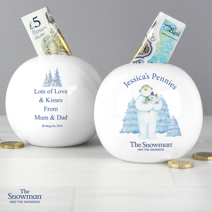 Personalised The Snowman and the Snowdog Money Box