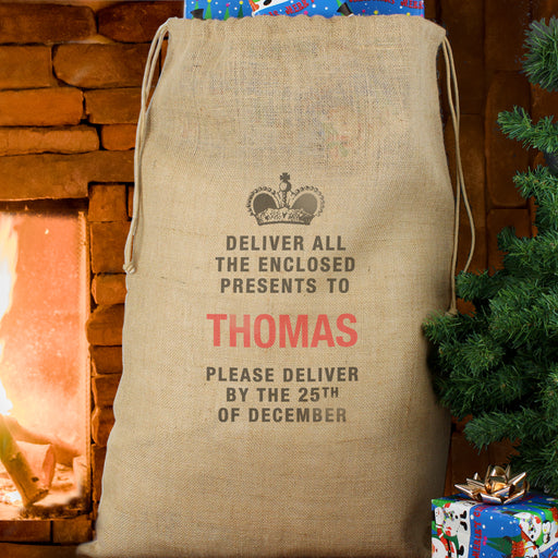 Personalised Deliver By Dec 25 Hessian Sack