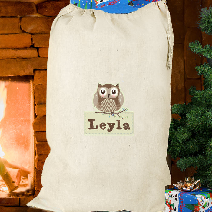 Personalised Woodland Owl Cotton Sack